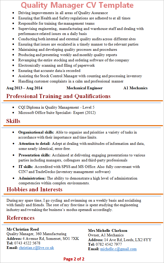 Qa cv example northurthwall quality manager cv template 2 yelopaper Gallery