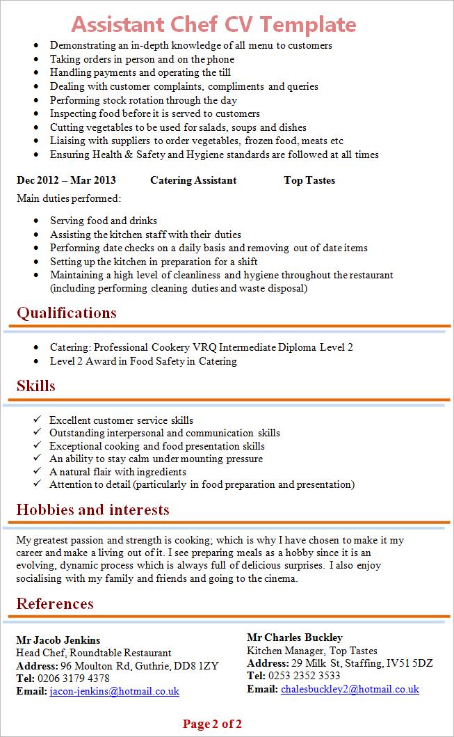 assistant chef cv template 2 - Resume Sample For Cook