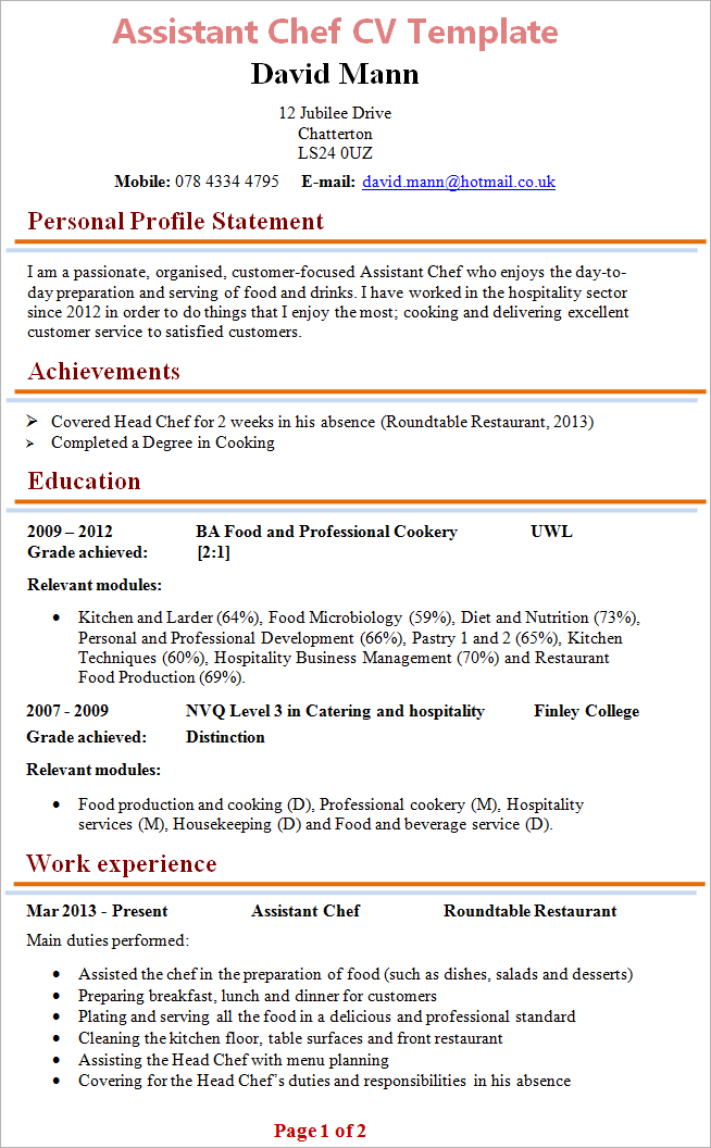 Assistant Chef CV Template + Tips and Download – CV Plaza