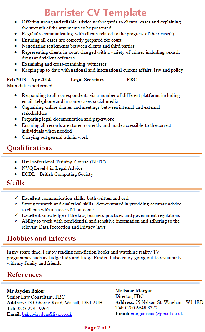 legal secretary cv template uk