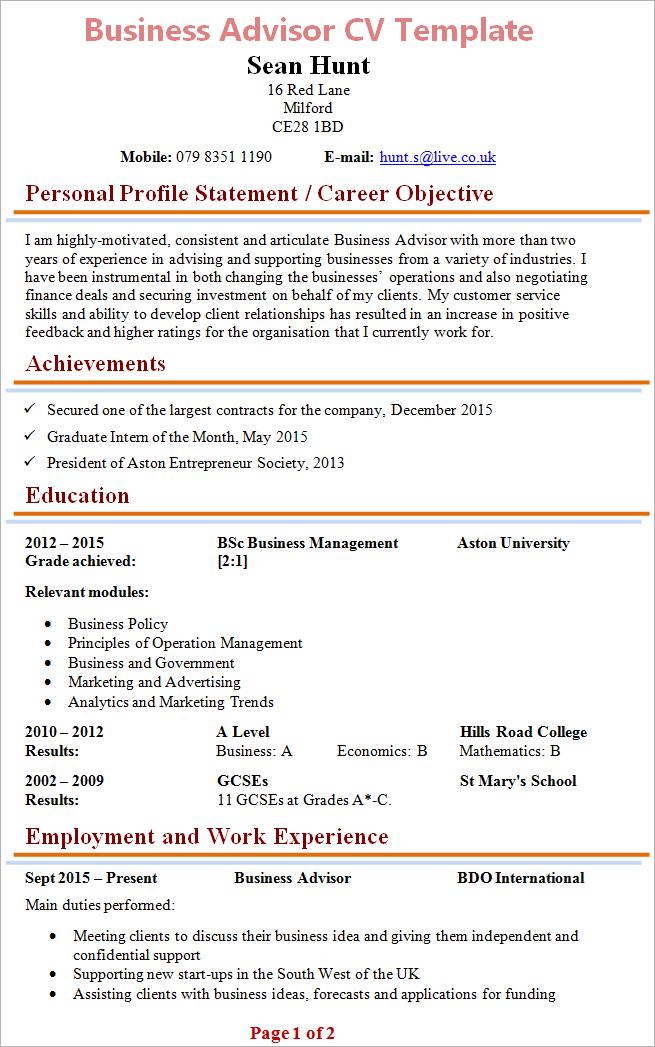 Business Advisor Cv