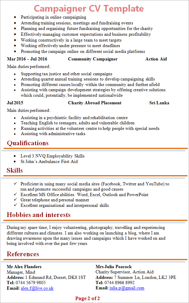 Campaigner cv template tips and download cv plaza campaigner cv template 2 yelopaper Choice Image