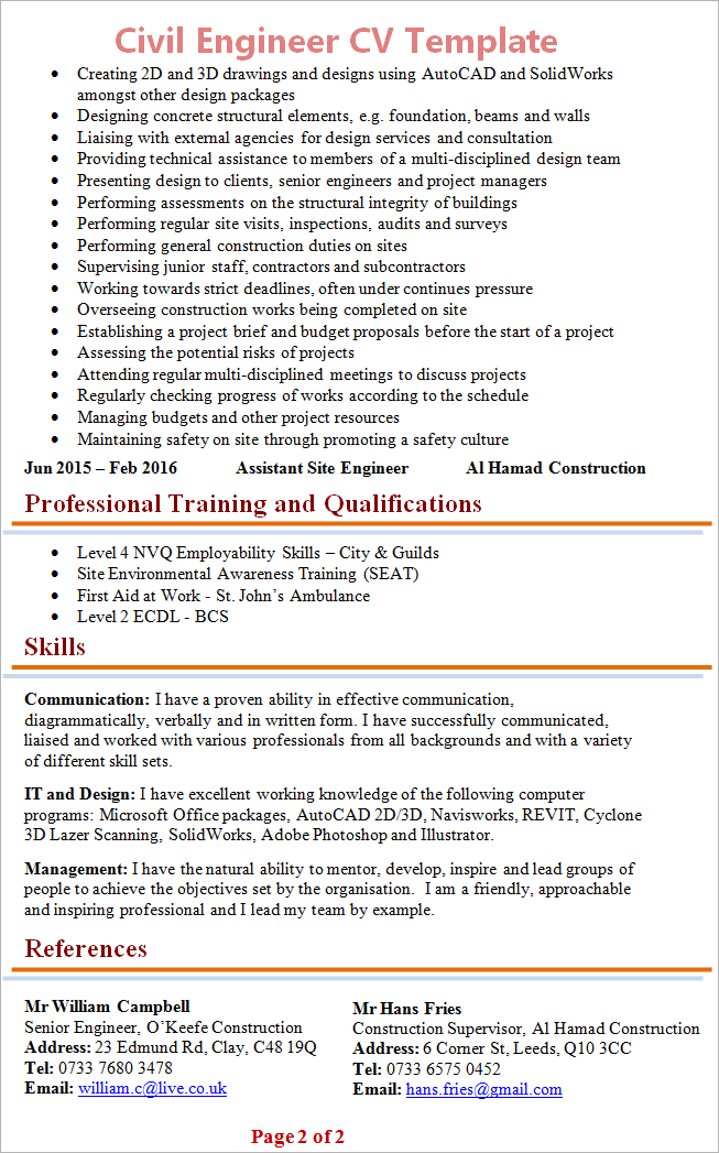 cv examples civil engineering