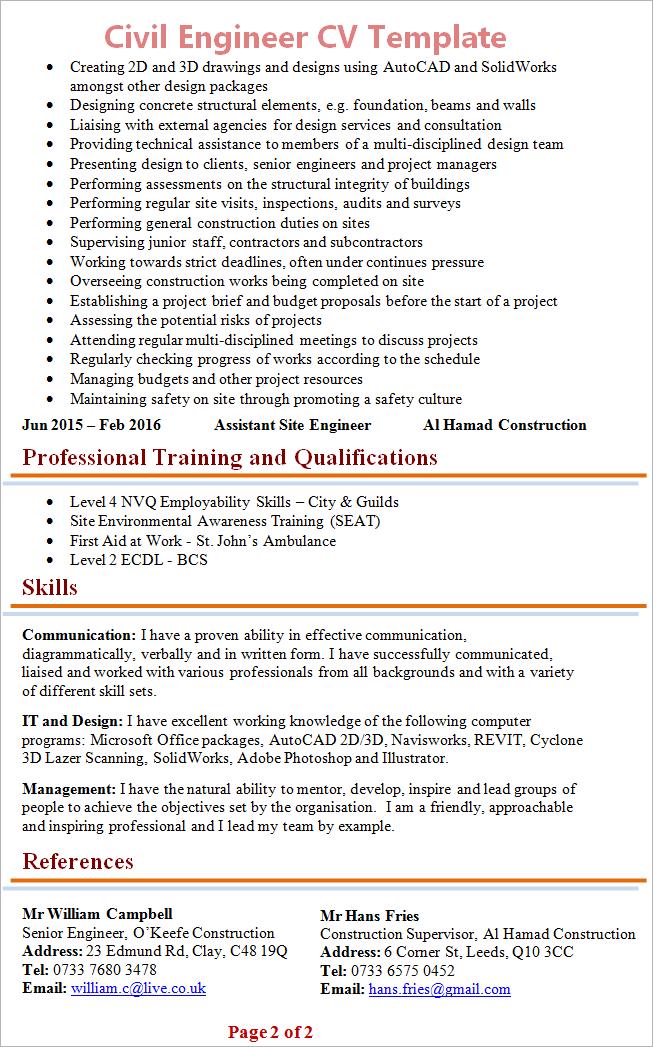 civil-engineer-cv-template