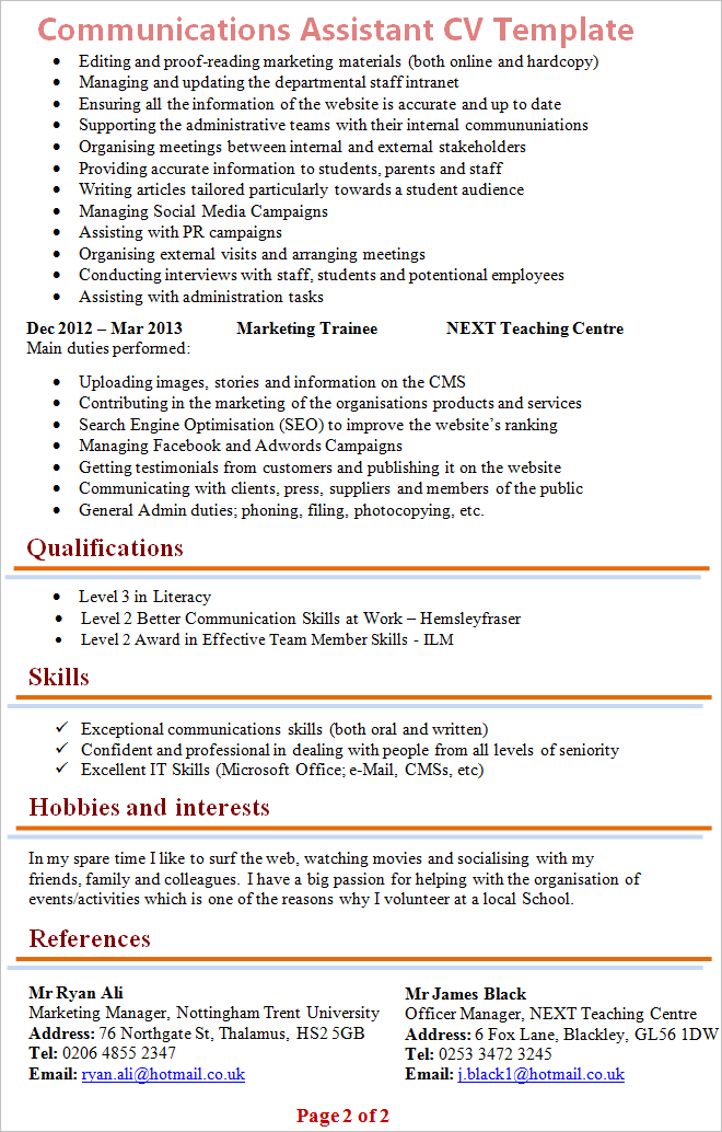 Communications assistant cv template tips and download cv plaza communications assistant cv template 2 pronofoot35fo Image collections