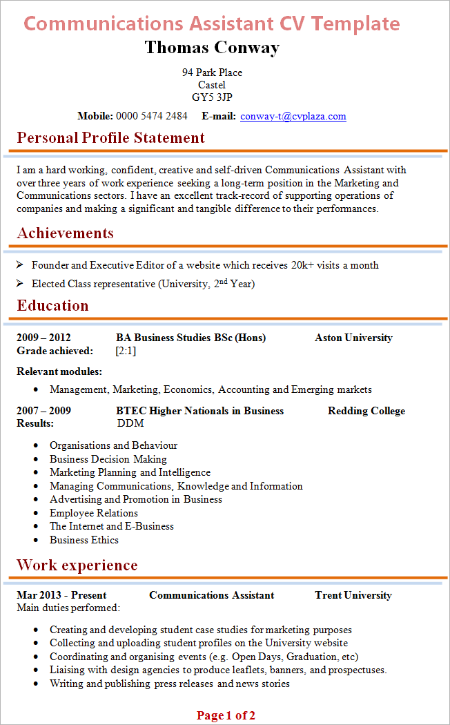Communications assistant cv template tips and download cv plaza communications assistant cv yelopaper Image collections