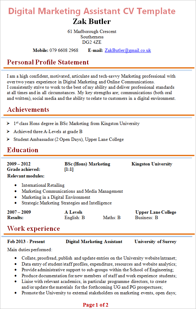 digital marketing assistant cv exle