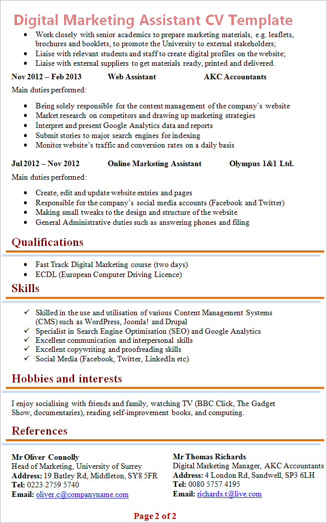 Resume Template For Marketing | Digital Marketing Assistant Cv Template Tips And Download Cv Plaza