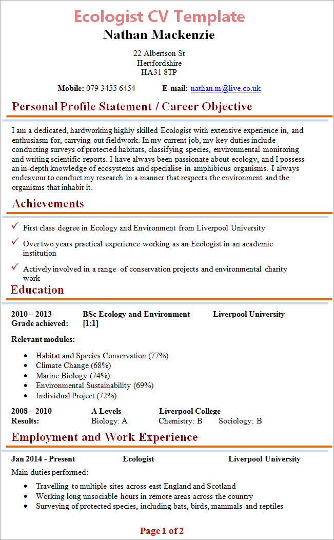 Ecologist cv template tips and download cv plaza ecologist cv yelopaper Images