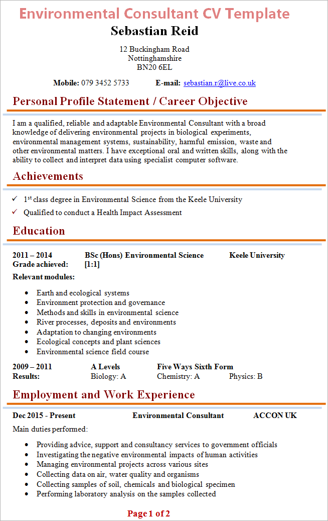 Environmental Consultant CV Template + Tips and Download ...