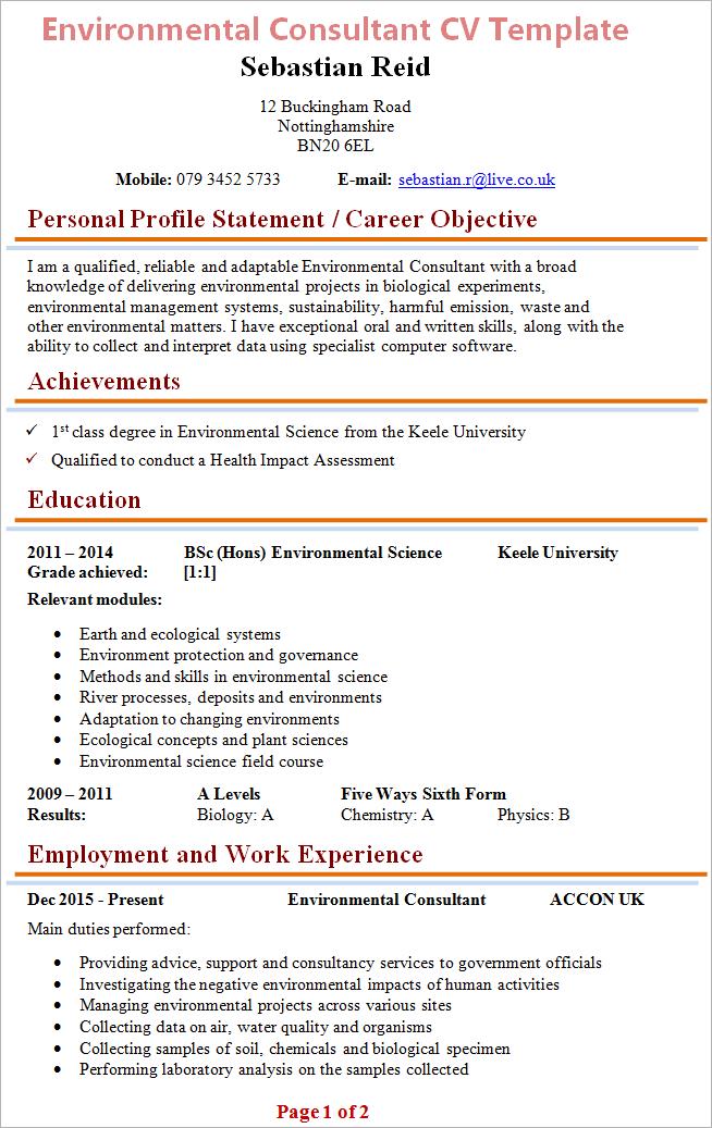 Curriculum Vitae English Samplecv English Sample Resume Example Uk