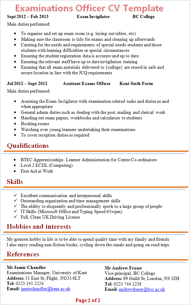 Examinations Officer Cv Template 2
