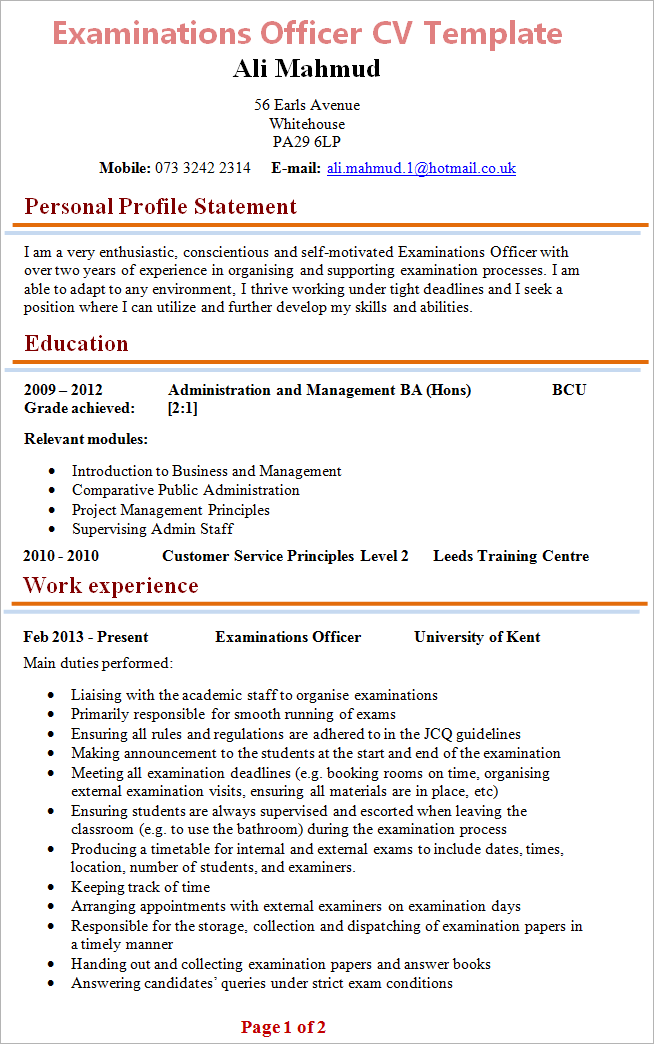 Examinations Officer Cv