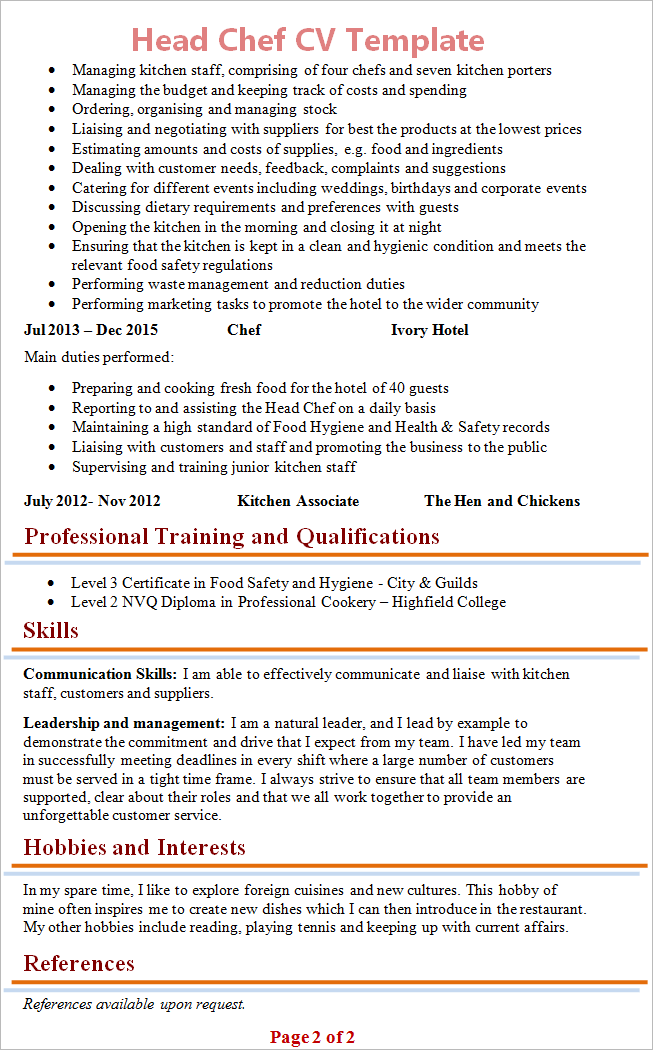 Head Chef Cv Template Tips And Download Cv Plaza