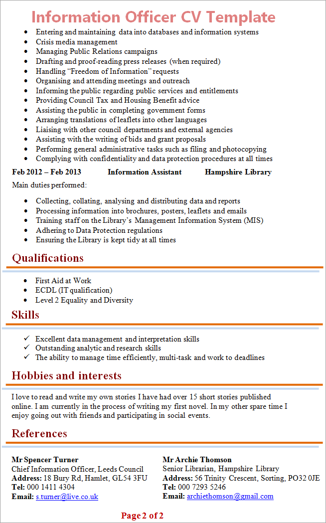 Information Officer Cv Template Tips And Download Cv Plaza