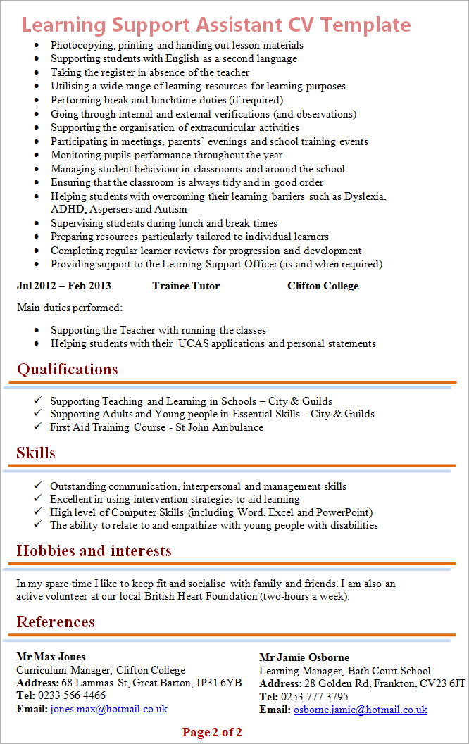 Learning Support Assistant Cv Template 2