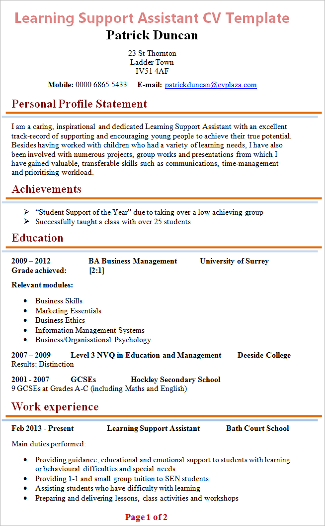 Learning Support Assistant Cv