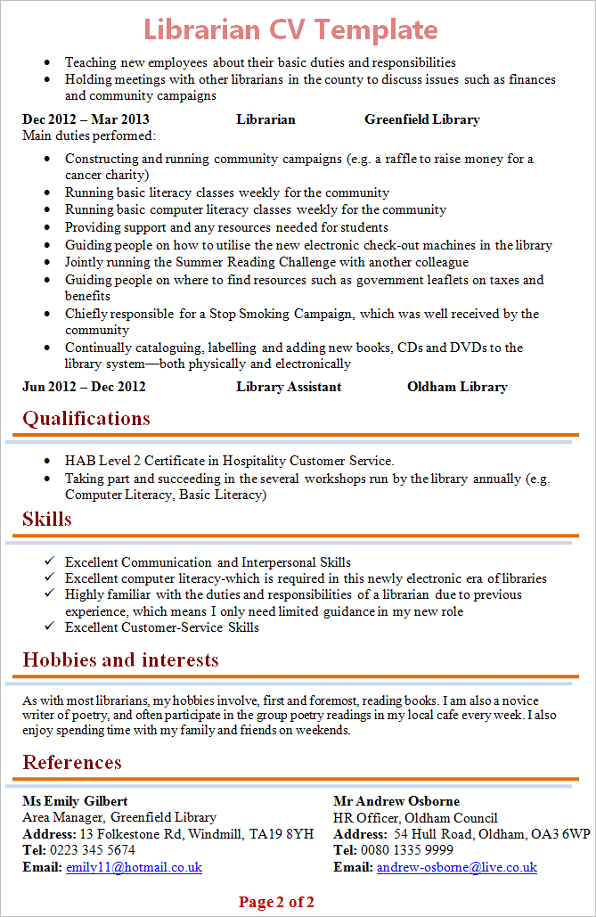 librarian cv template 2 - Librarian Resume Sample