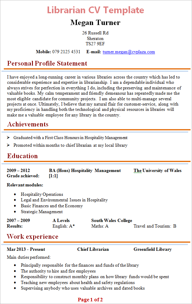 Captivating Librarian Cv To Librarian Cv