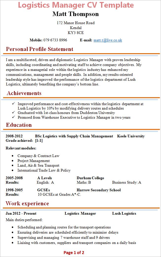 logistics-manager-cv