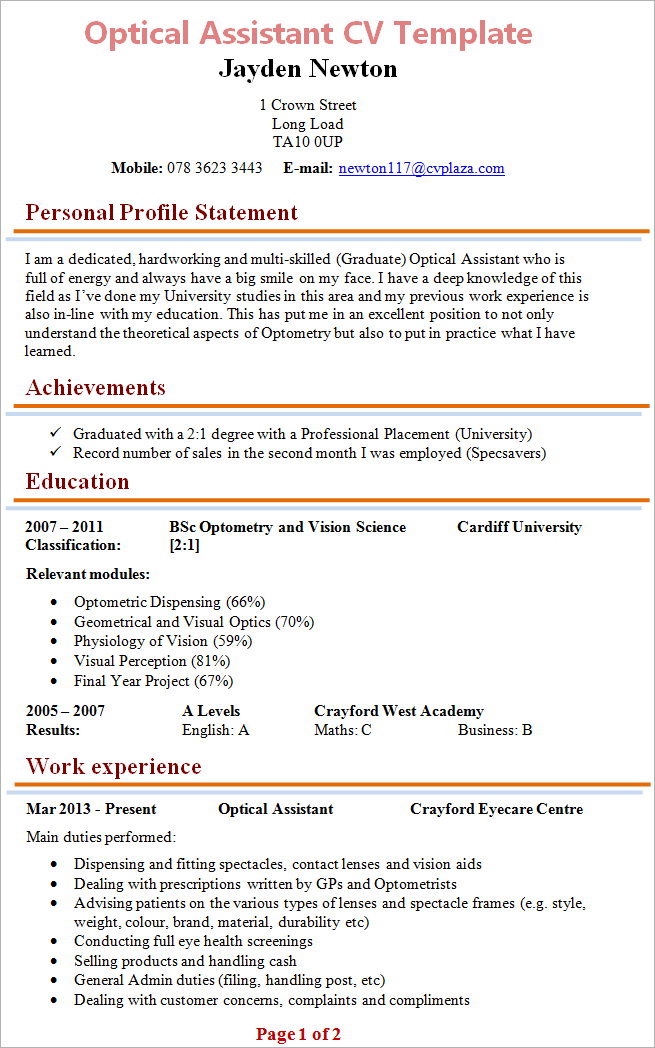 Optical Assistant CV Template Tips and Download CV Plaza – Optician Assistant