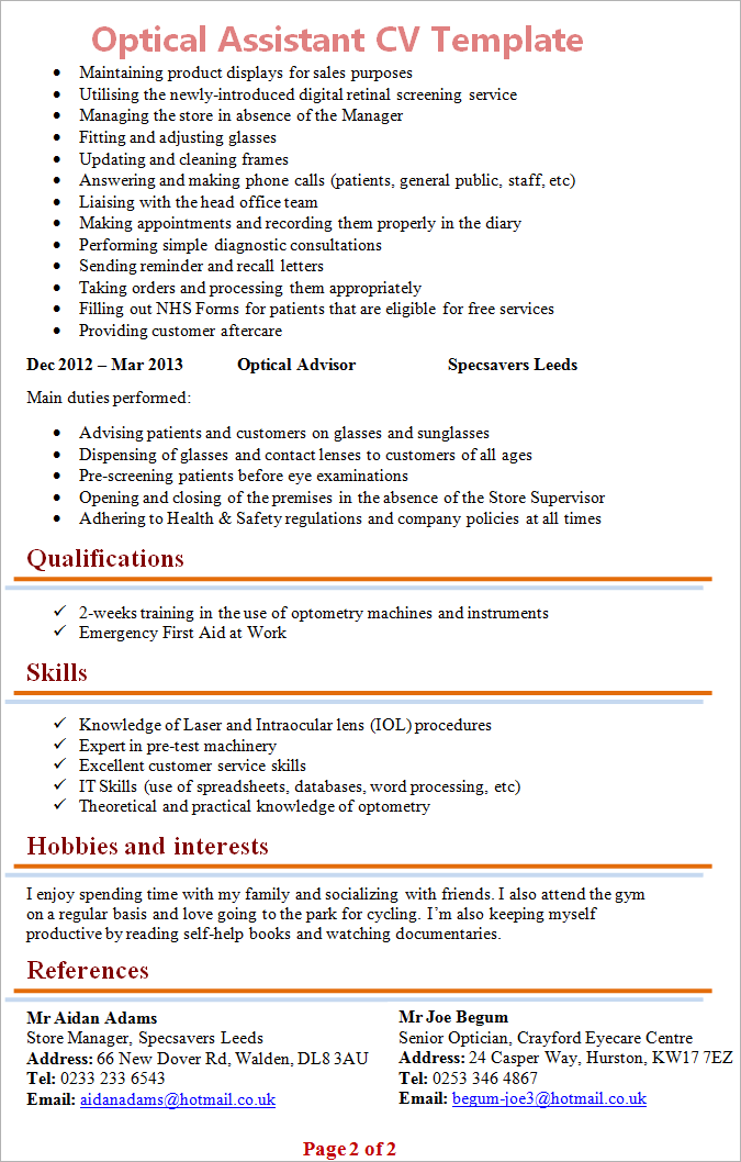 Optical Assistant CV Template Tips And Download  CV Plaza - Job description of an optician