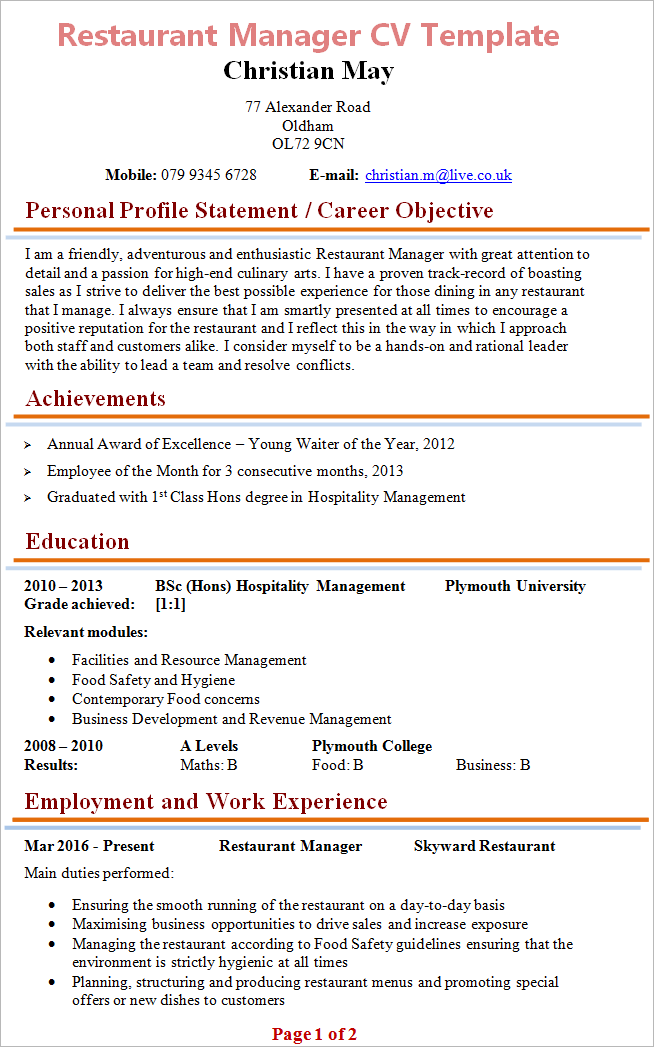 Restaurant Manager CV Template + Tips and Download - CV Plaza