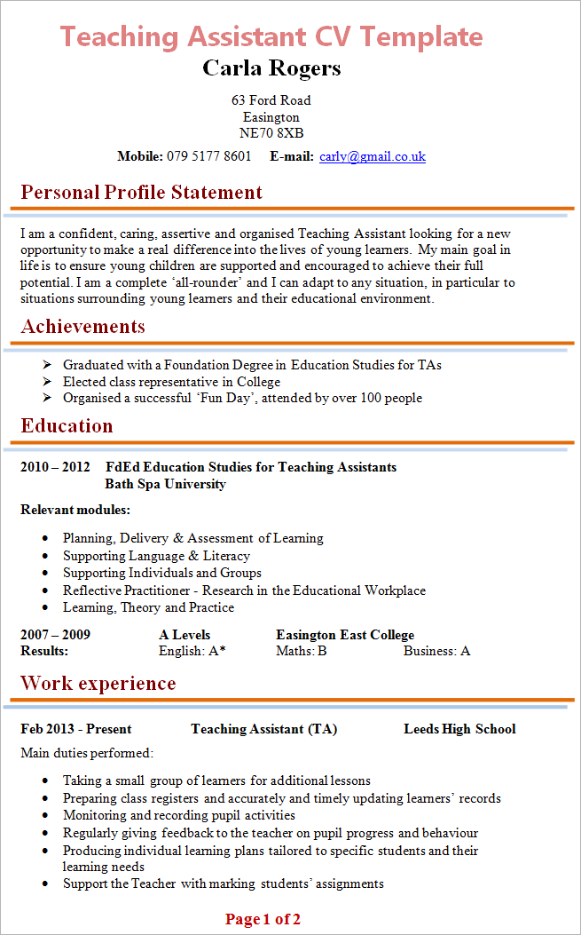 Cv Template For Teaching Assistant  Resume Template For Teachers