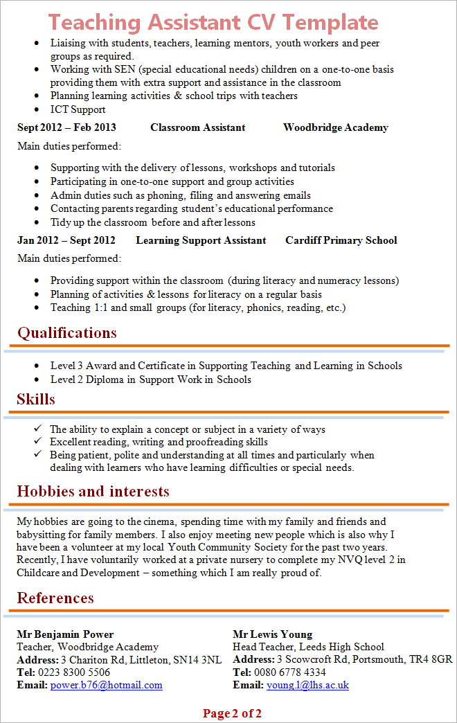 Cv For Teaching Assistant