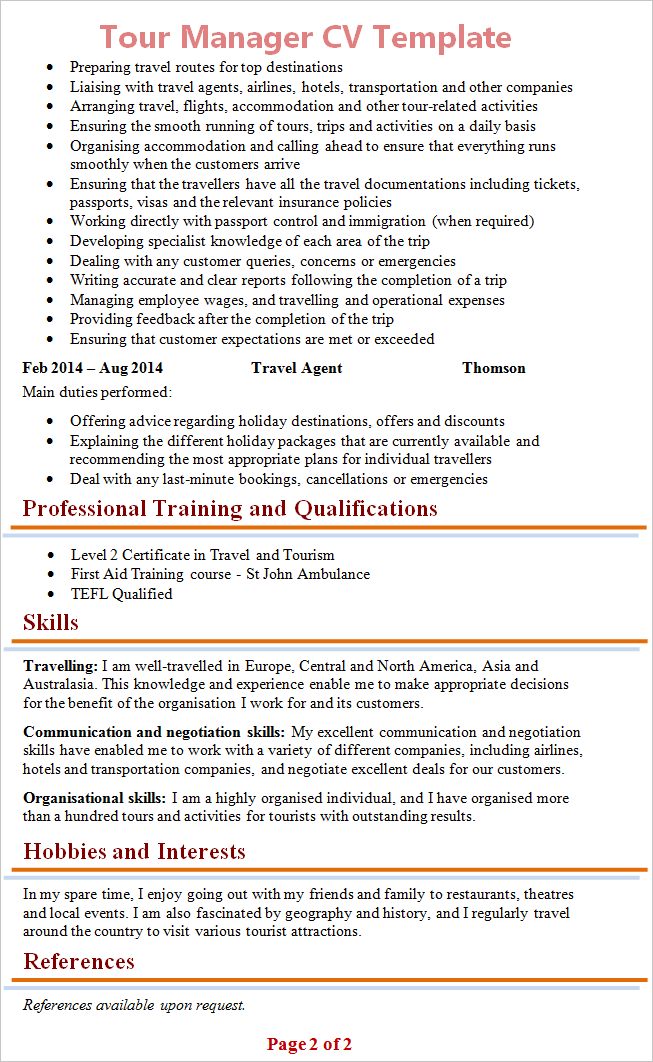 resume sample activities and interests