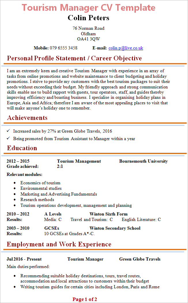 Tourism Manager Cv Template Tips And Download Cv Plaza