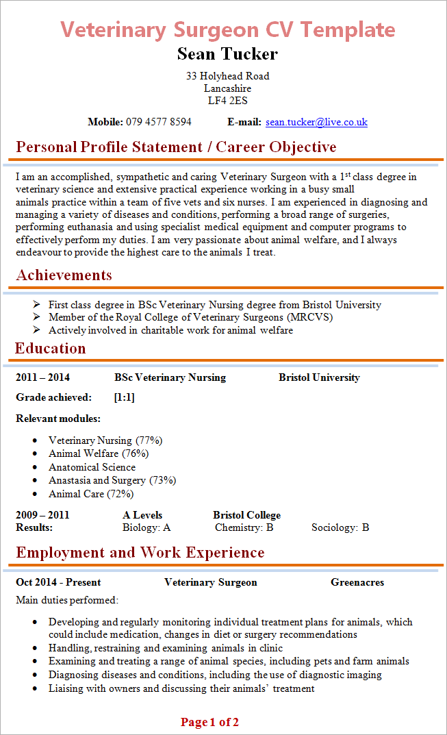 Veterinary Surgeon Cv