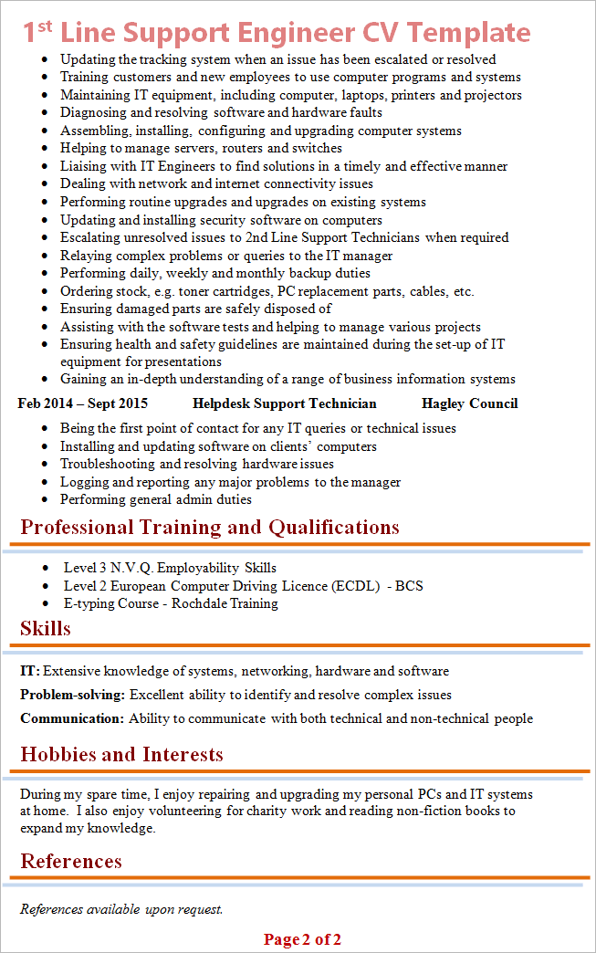 1st line support analyst cv template