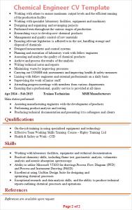 chemical engineering cv