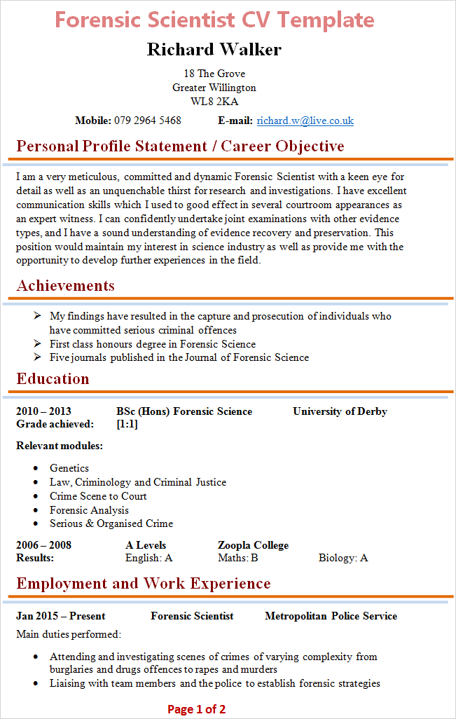 Forensic Scientist CV Template + Tips and Download - CV Plaza