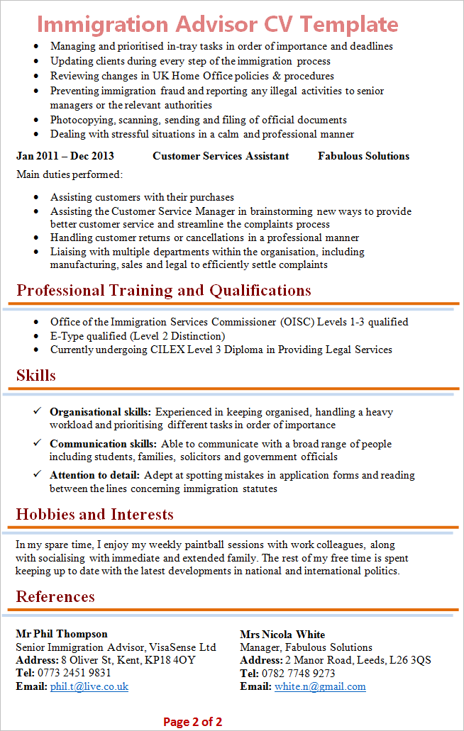 Immigration Advisor Cv Template 2