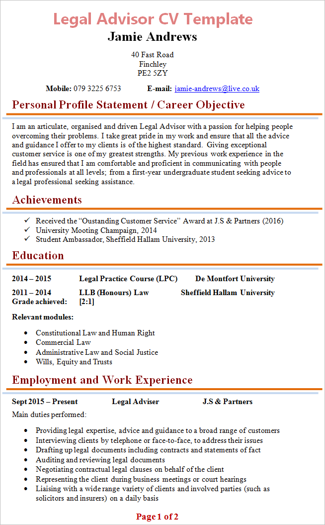 Legal Advisor Cv  Legal Resume Template