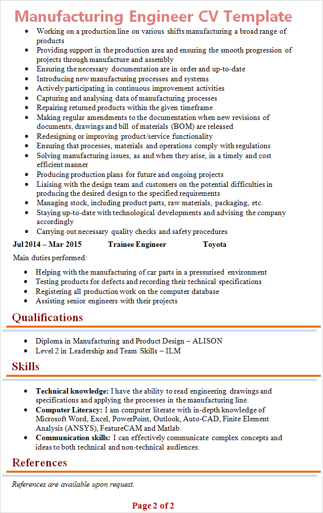 manufacturing-engineer-cv-template