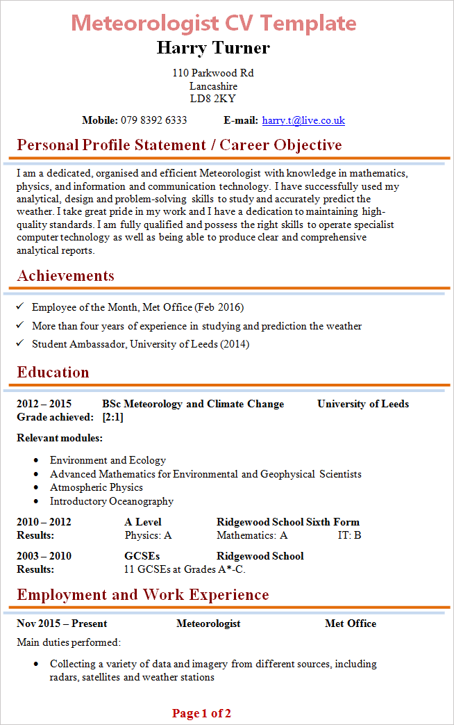 Meteorologist cv template tips and download cv plaza meteorologist cv template 1 yelopaper Image collections