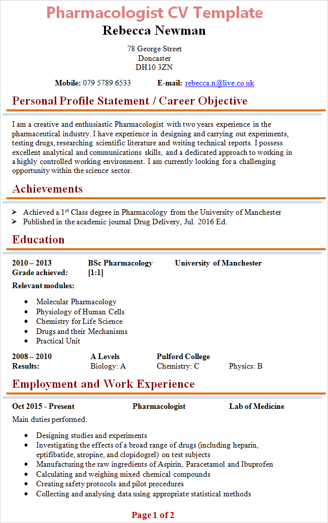 pharmacologist-cv-template