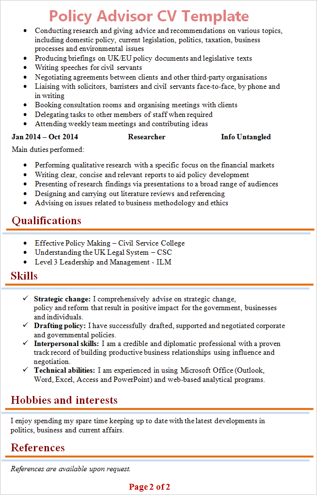 Policy Advisor Cv Template 2