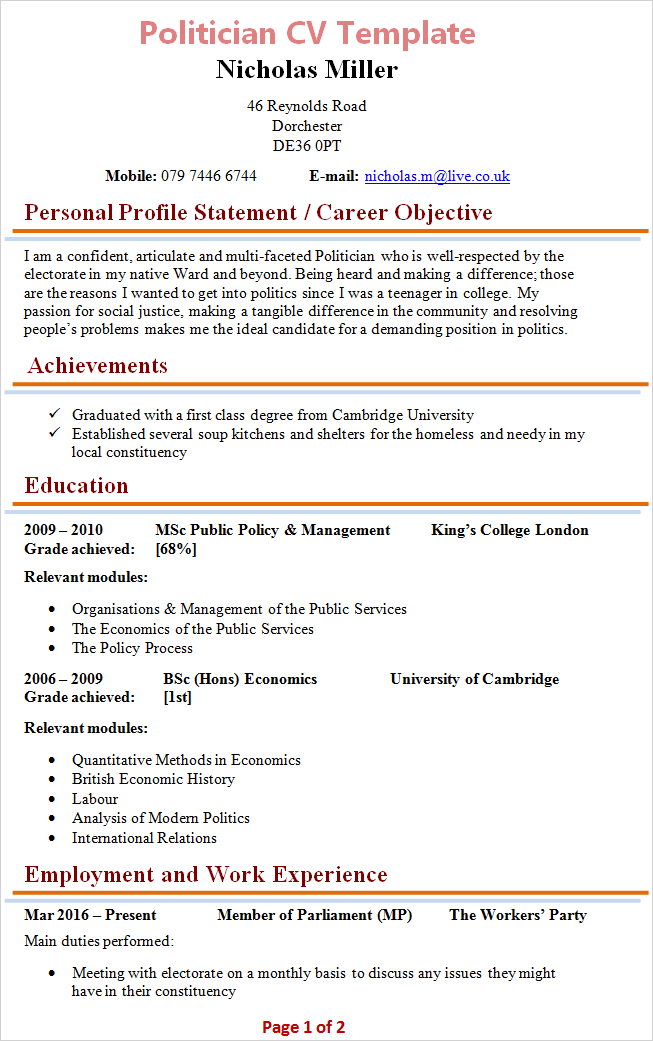 Politician cv template tips and download cv plaza politician cv template yelopaper Image collections