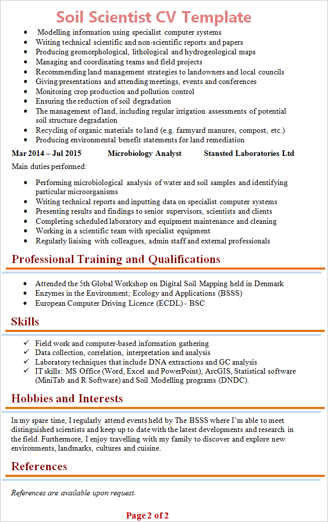 soil scientist cv template