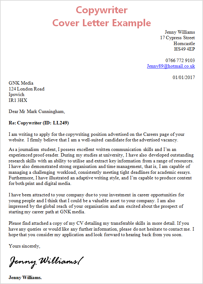 Captivating Cover Letter Copywriter