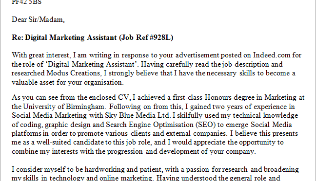 Cover Letter Online Marketing Assistant