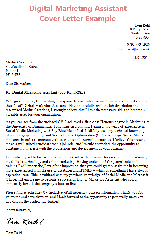 Digital Marketing Assistant Cover Letter Example CV Plaza – Marketing Assistant Cover Letter