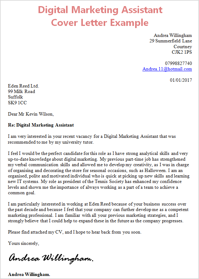 ... Marketing Cover Letter By Digital Marketing Assistant Cover Letter  Without Experience ...