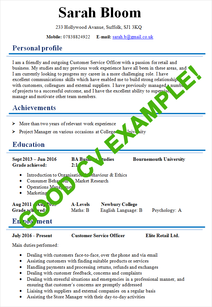 Examples Of Good Resume