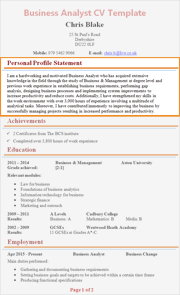personal profile statement cv