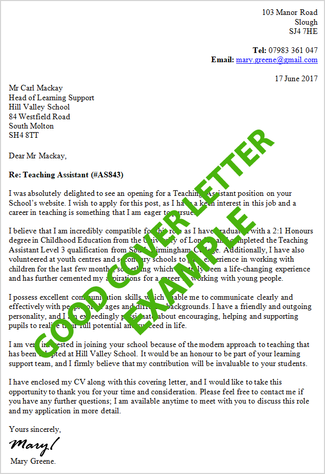 Excellent Cover Letter Examples For 100 Jobs Cv Plaza